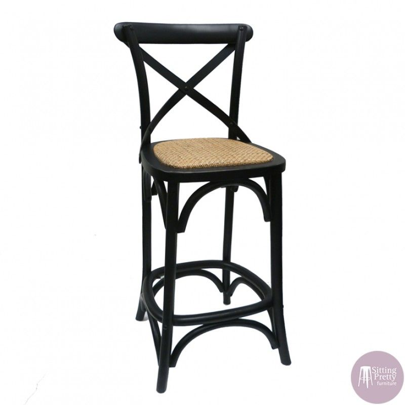 Bella Cross Back Chair Greywash With Black Metal Straps Pretty Furniture Stool Replica Furniture