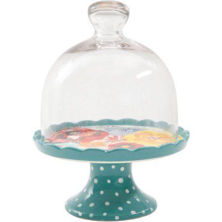 Pioneer Woman Stoneware Mini Cake Cupcake Stand Flea Market Kari Blue Floral NEW