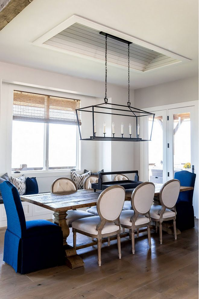 Darlana Linear Chandelier Over Dining Table Farmhouse Ideas Coastal Room With