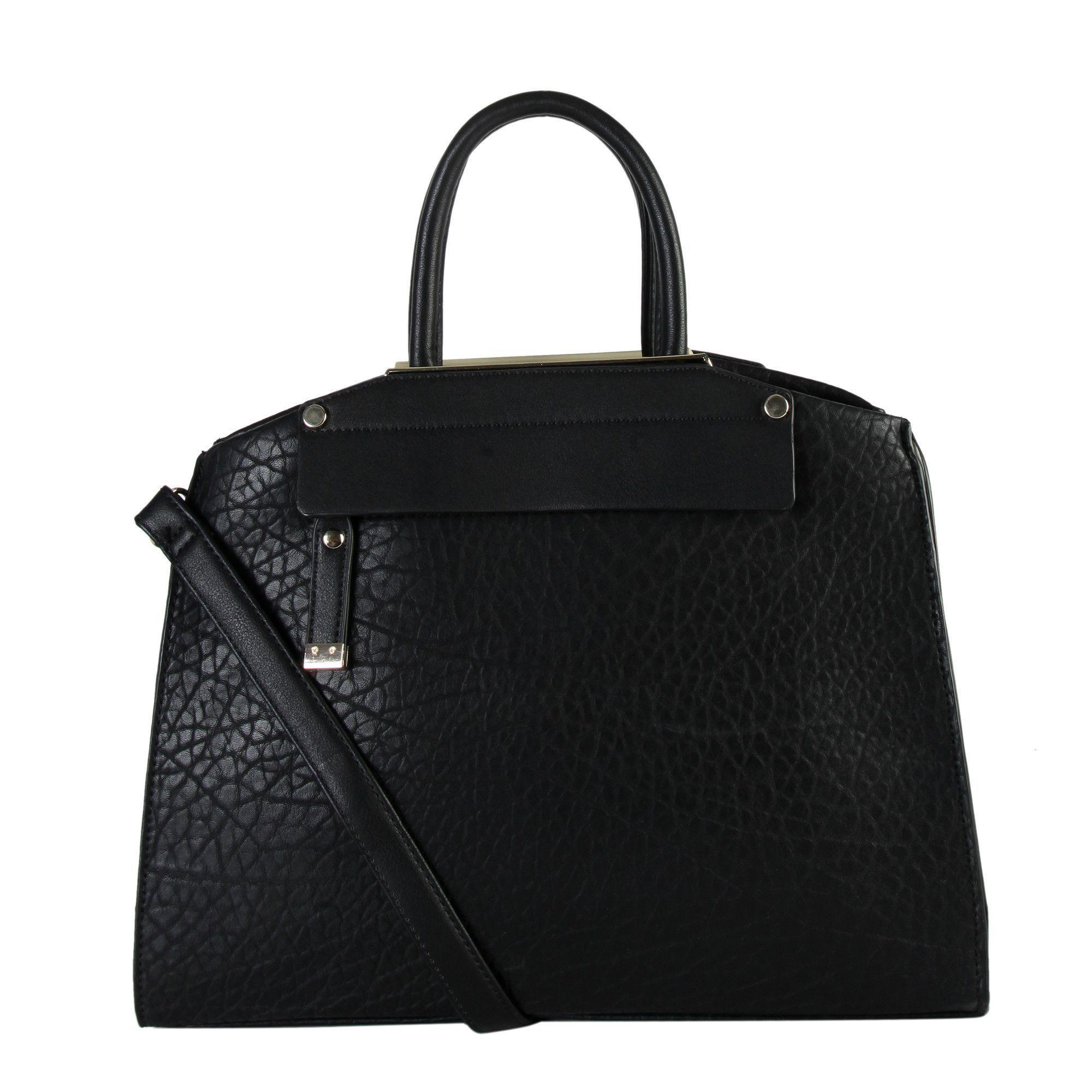 Diophy Women's Faux Divided Compartments Zipper-closure Tote Handbag