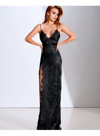 elegante abendkleider lang schwarz | spitze abendmoden