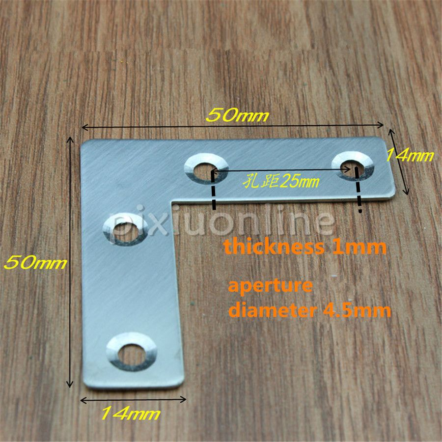 4pcs DS276b 50*50mm Stainless Steel Right Angle L-shaped Corner ...
