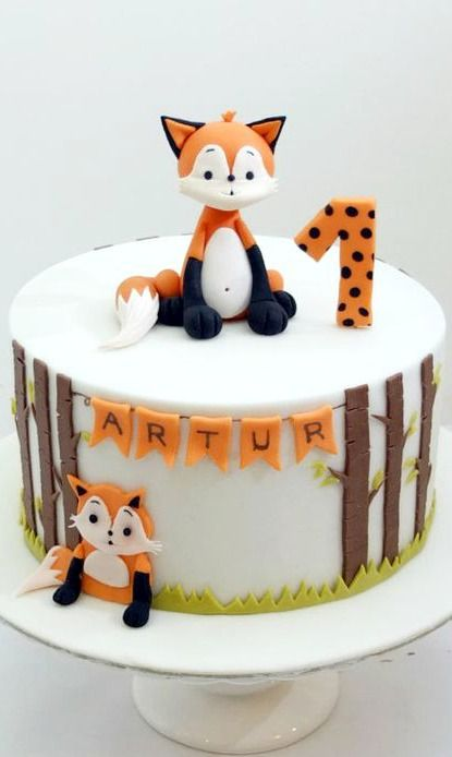 Fox First Birthday Cake Cakes And Cupcakes For Kids