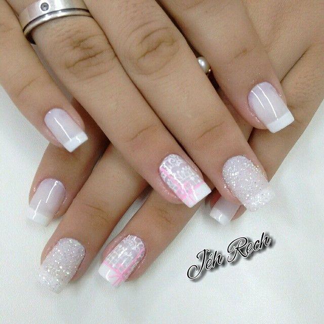 uñas frances rosa bajo brillos | Uña | Pinterest | Diseños de uñas ...