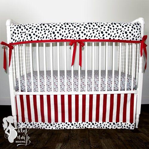 Black And Red Firefighter Theme Dalmatian Baby Boy Crib Bedding Set Nursery Decor