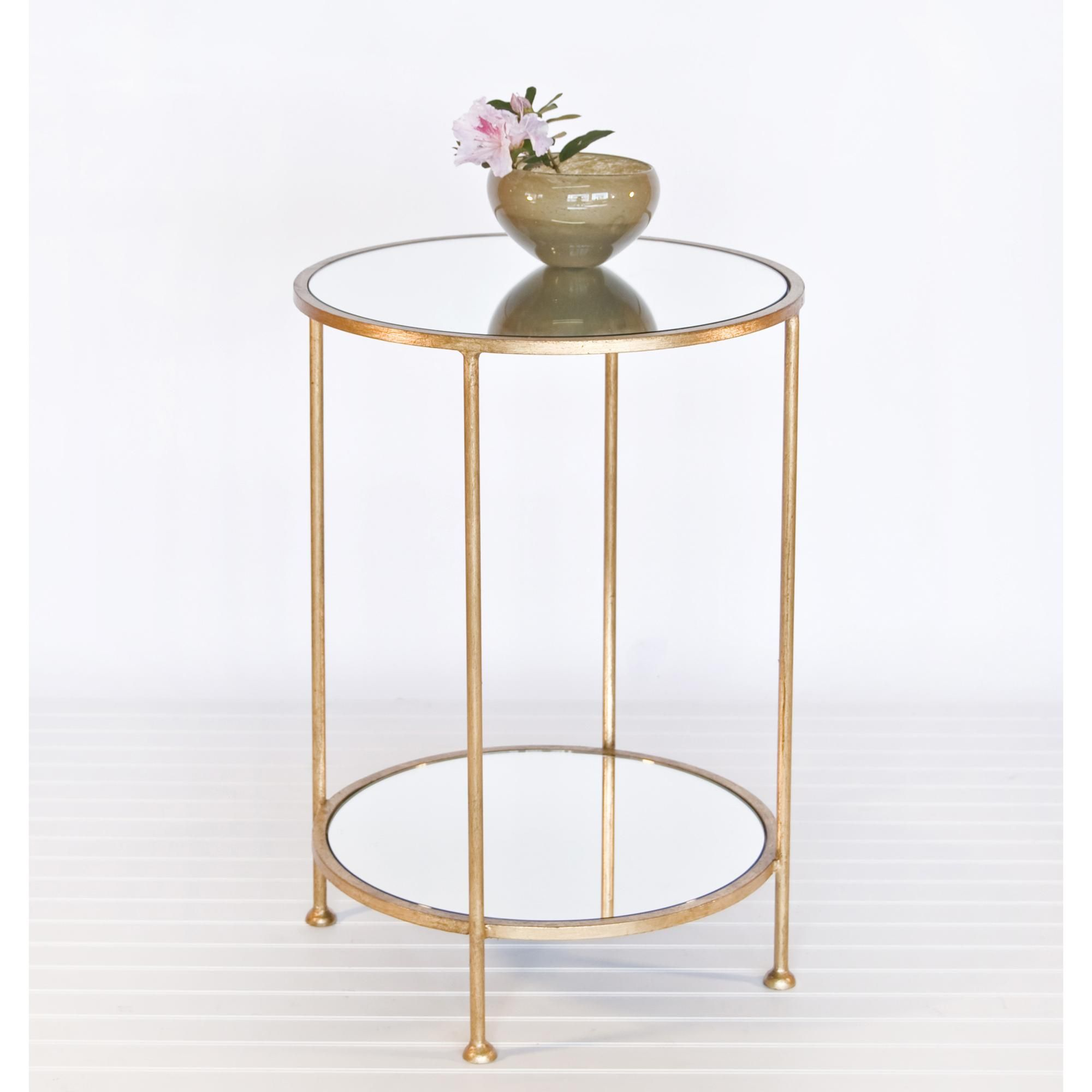 Chico Small 2 Tier Gold Leaf Side Table With A Mirror Top By Worlds Away Gold Side Table Glass Bedside Table Glass Side Tables