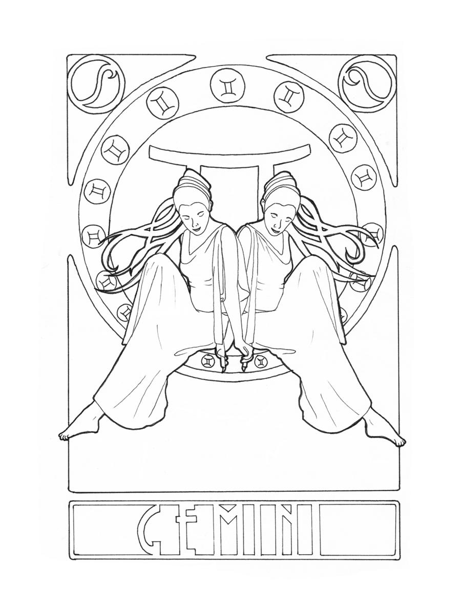 Zodiac Gemini by ElineK.deviantart.com on @DeviantArt | coloring ...