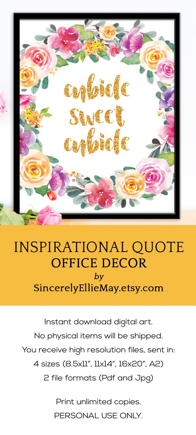 Cubicle Sign Decor - Cubicle Sweet Cubicle Gold Letters Office Wall ...