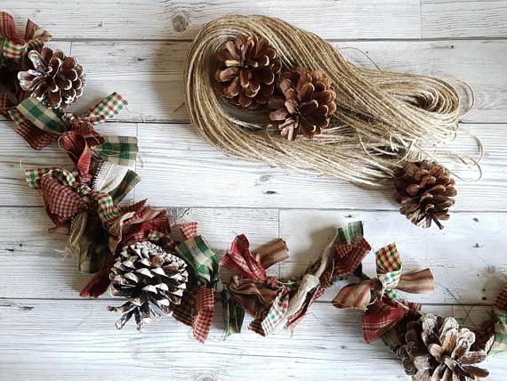 Primitive Christmas Garland Pine Cone Rag Garland Christmas Decorations Wreaths Rag Garland Christmas Garland