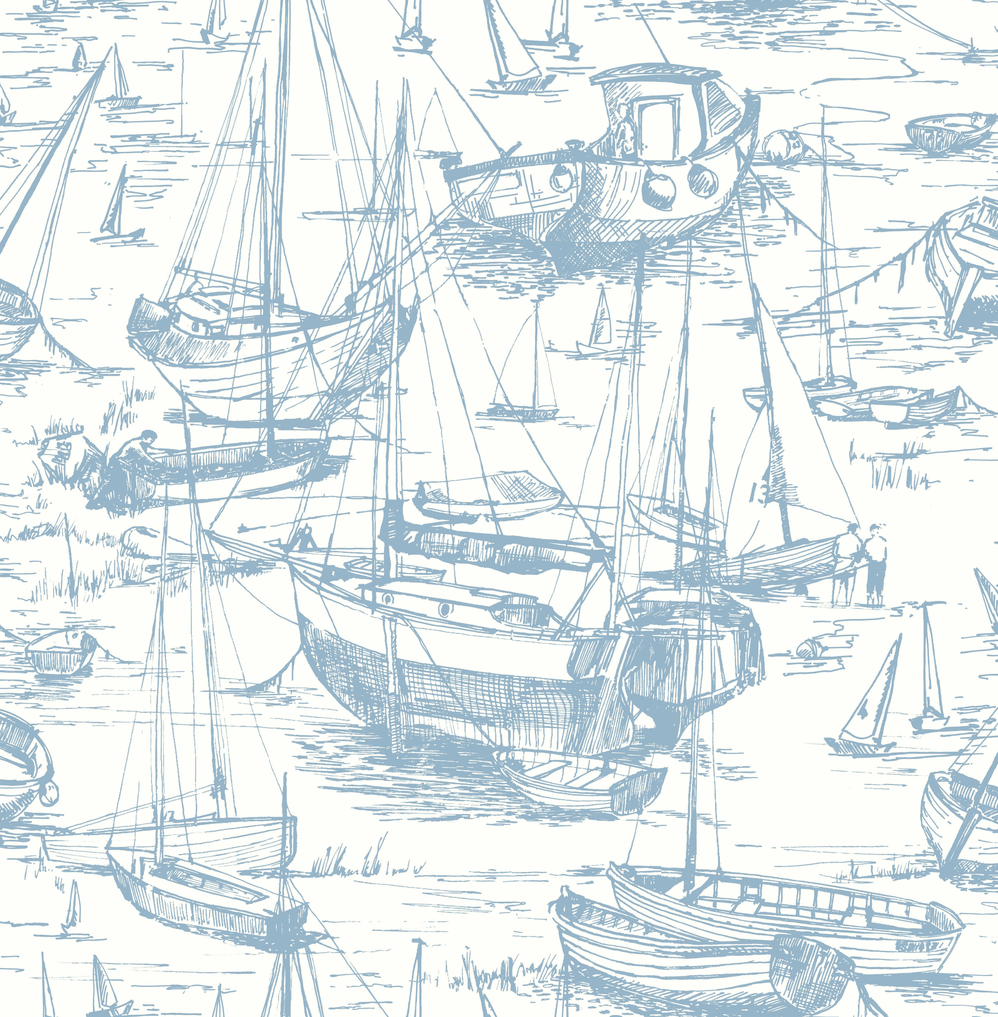 Home diy wallpaper illustration arthouse imagine fern plum motif vinyl - Colours Harbour Blue Illustration Wallpaper B Q For All Your Home And Garden Supplies And Advice On All The Latest Diy Trends