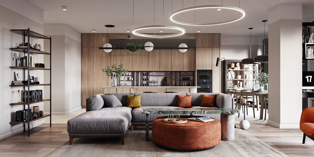 2 Apartments Under 120 Square Meters 1300 Square Feet With Floor Plans Open Plan Living Room Living Room Furniture Layout Livingroom Layout