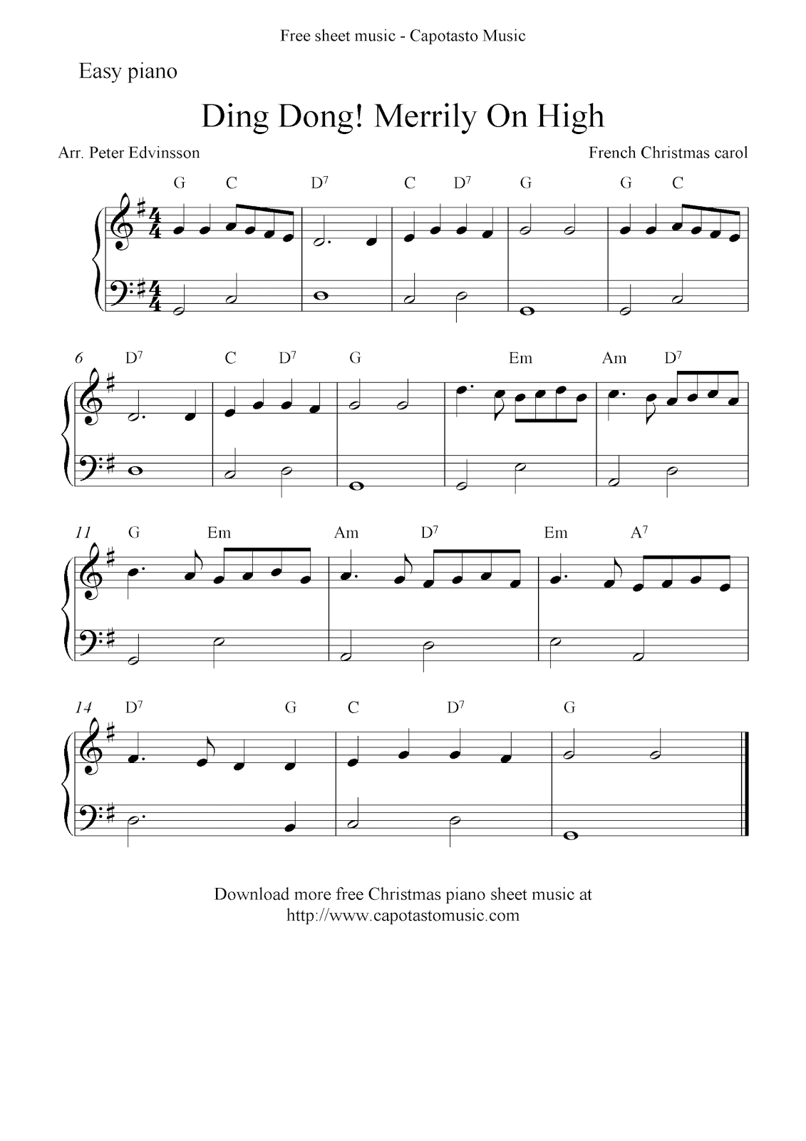 Free Sheet Music Scores: Free Christmas sheet music for easy piano, Ding Dong! Merrily On High ...