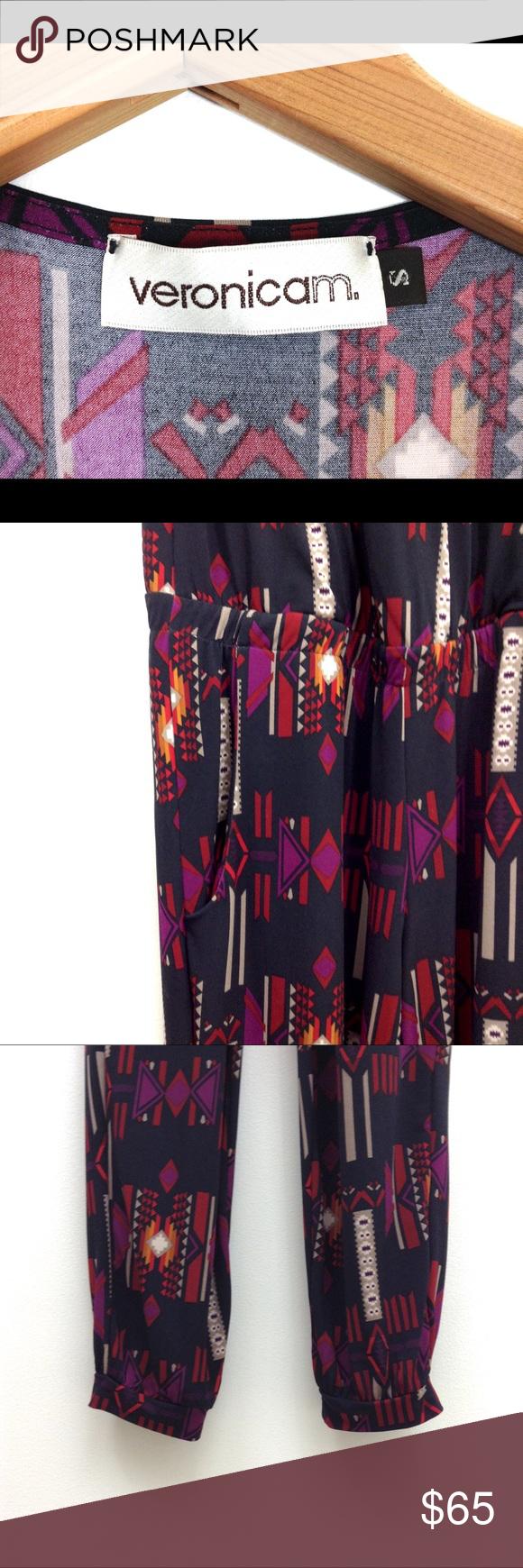 Veronica M Aztec Tribal Print Jogger Jumpsuit My Posh Picks Pant Cuffs Elastic Waist