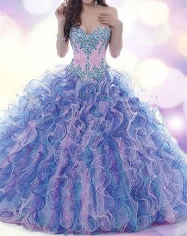 2015 Nuevo con cuentas de la quinceañera Vestido Ball Gown formal ...