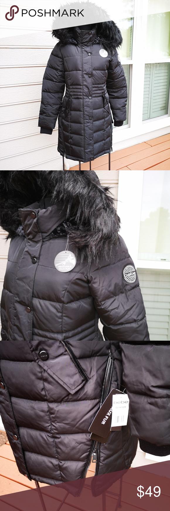 Bebe Women Midweight Fur Puffer Jacket Sherpa Line Sherpa Lined Puffer Jackets Bebe [ 1740 x 580 Pixel ]