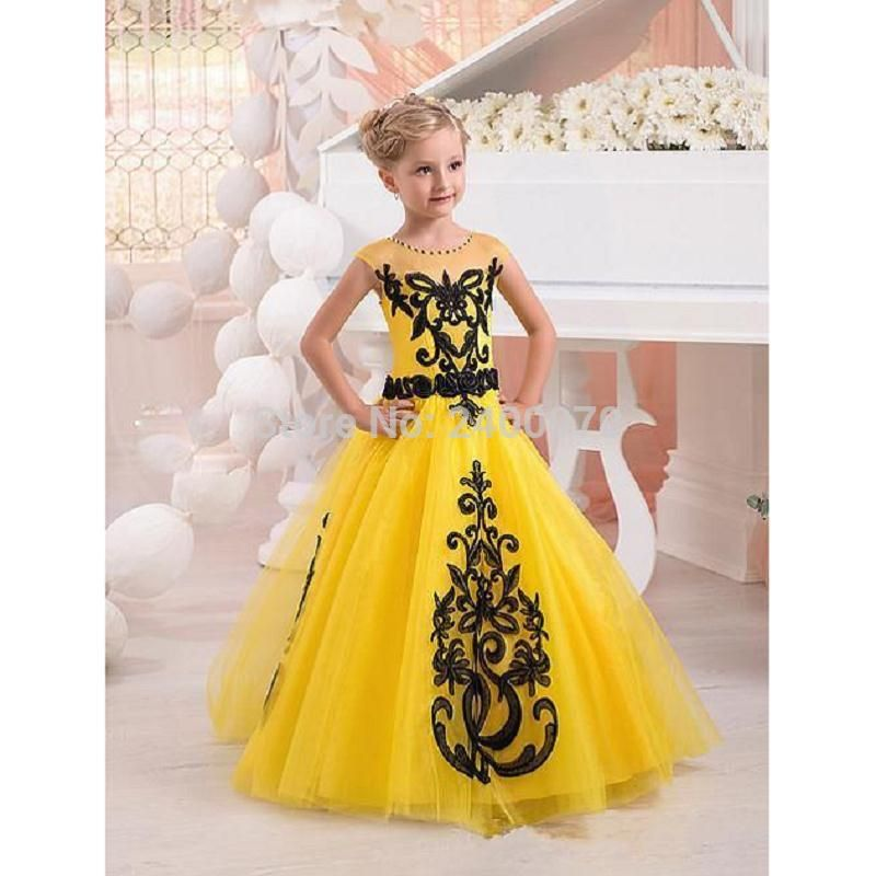 Find More Flower Girl Dresses Information about 2017 New Yellow Black Cute Girls Pageant Dresses Sheer Crew Neck Cap Sleeves  Princess Ball Gown Toddler Kids Formal Wear,High Quality wear light blue shirt,China wear baggy jeans women Suppliers, Cheap gown lingerie from CDDRESSES Store on Aliexpress.com