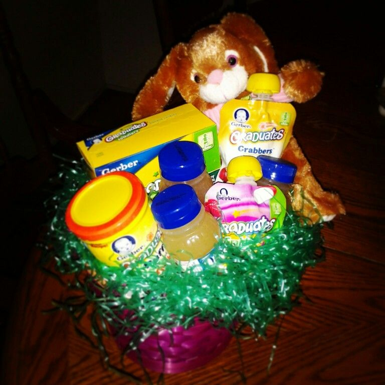 Easter basket for baby gerber cookies squeezable fruit juice easter basket for baby gerber cookies squeezable fruit juice and snacks grandma did it for my 9 month old negle Image collections