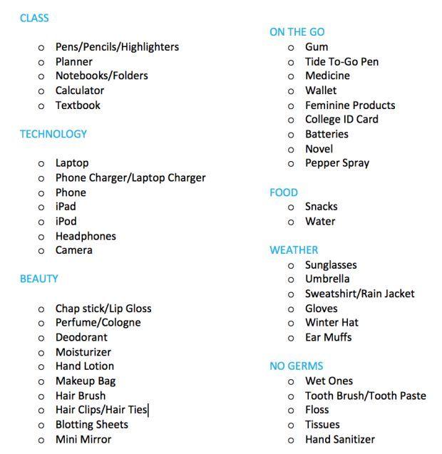 Ultimate+College+Backpack+List - cheap designer handbags, designer - office supply checklist template