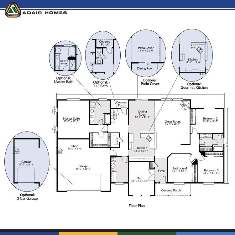 Adair homes the aspen 2686 home plan 179 384 in for Aspen house plans