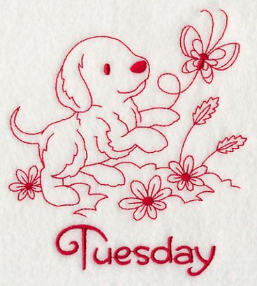 Busy Puppy on Tuesday (Redwork)