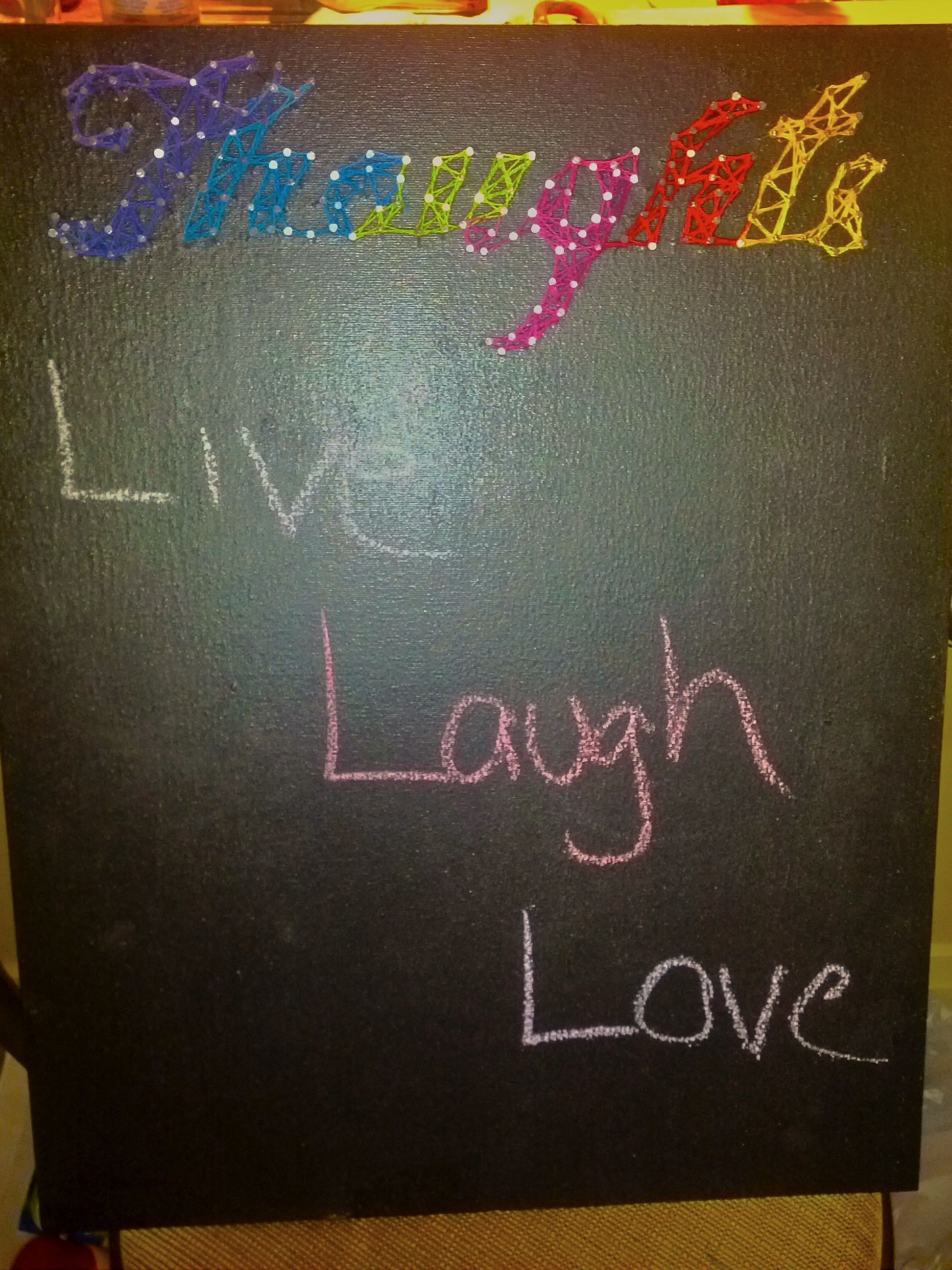 Nail art+chalkboard paint :)    http://kelseyj77.bo.lt/stringart  http://kelseyj77.bo.lt/gd7d8