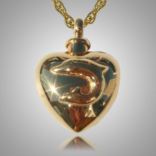 the large dolphin heart cremation jewelry is gold plated. Black Bedroom Furniture Sets. Home Design Ideas