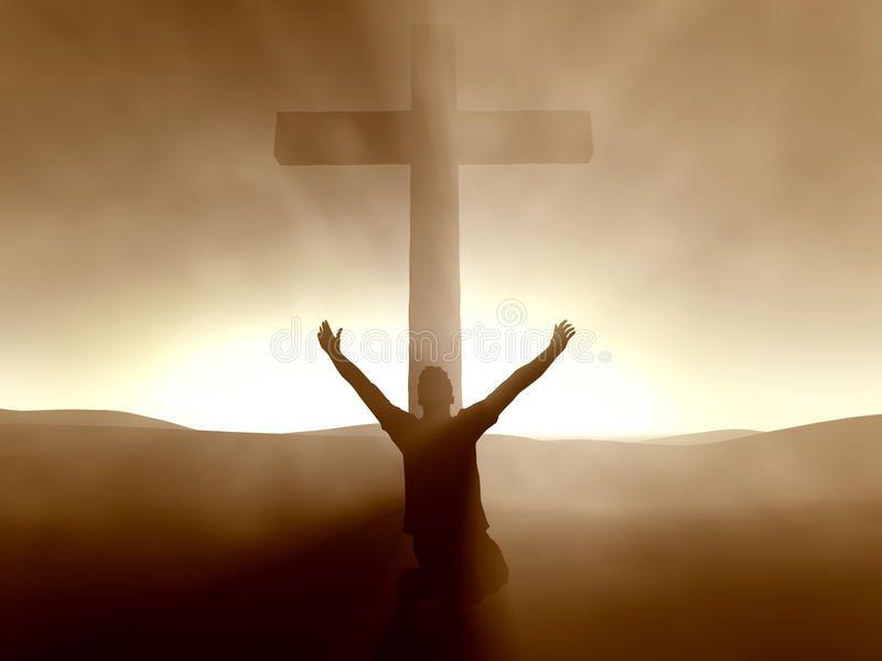 Man kneeling at the Cross of Jesus Christ. Silhouette of a man at the Cross  of J , #SPONSORED, #Cross, #kneelin… | Man kneeling, Catholic herald, Jesus  on the cross