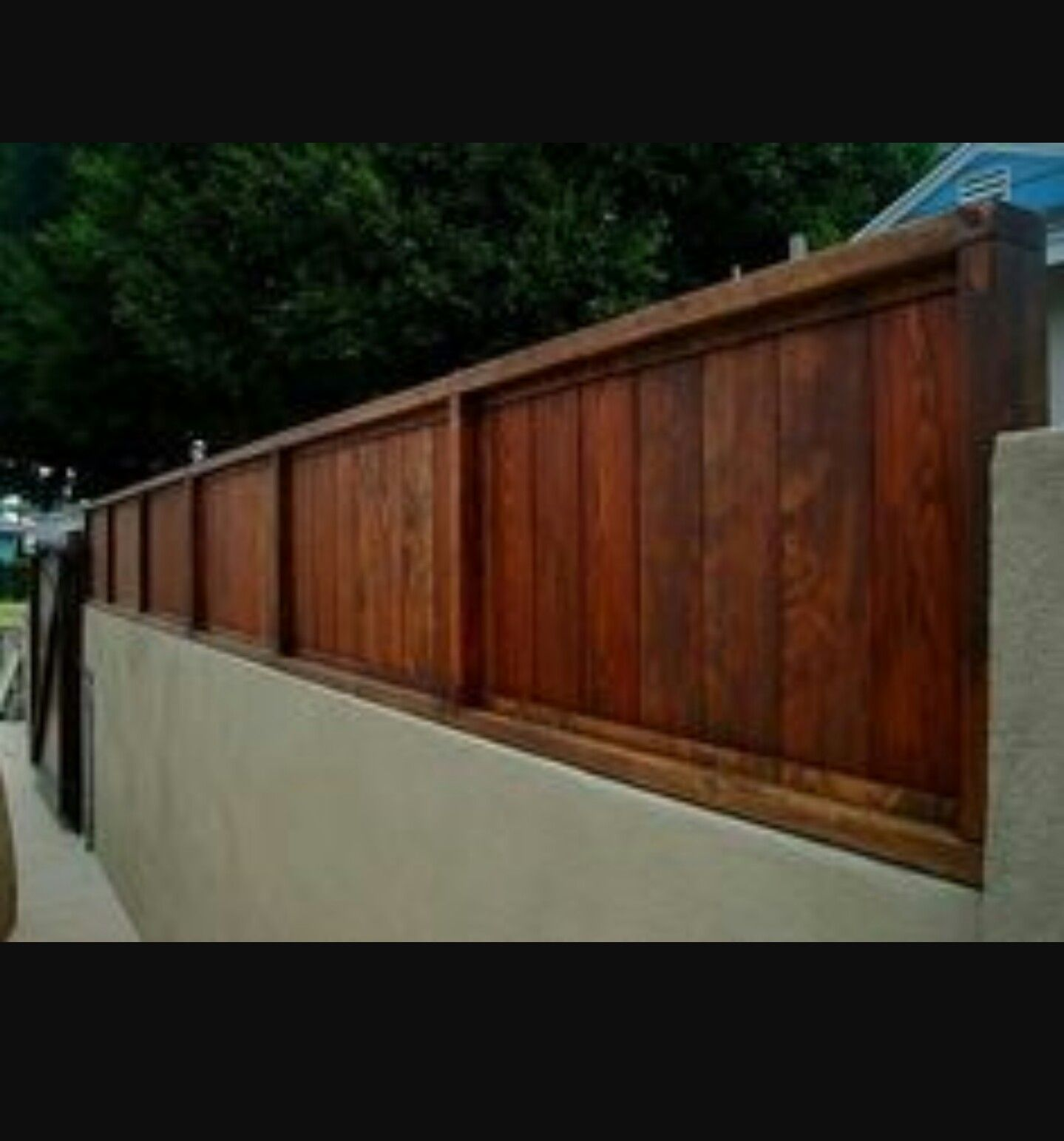 Image result for ideas for vinyl fencing on top of cinderblock walls