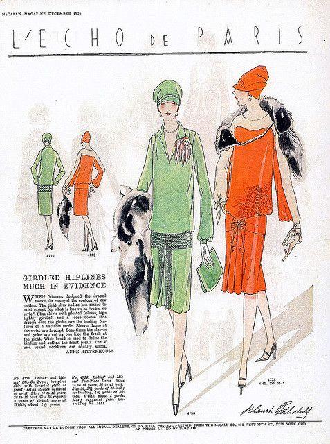 Girdled Hipline Dresses from December 1926 McCall's Magazine
