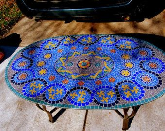 Blue Gl Mosaic Coffee Table Commission Handcut Tile On Patio