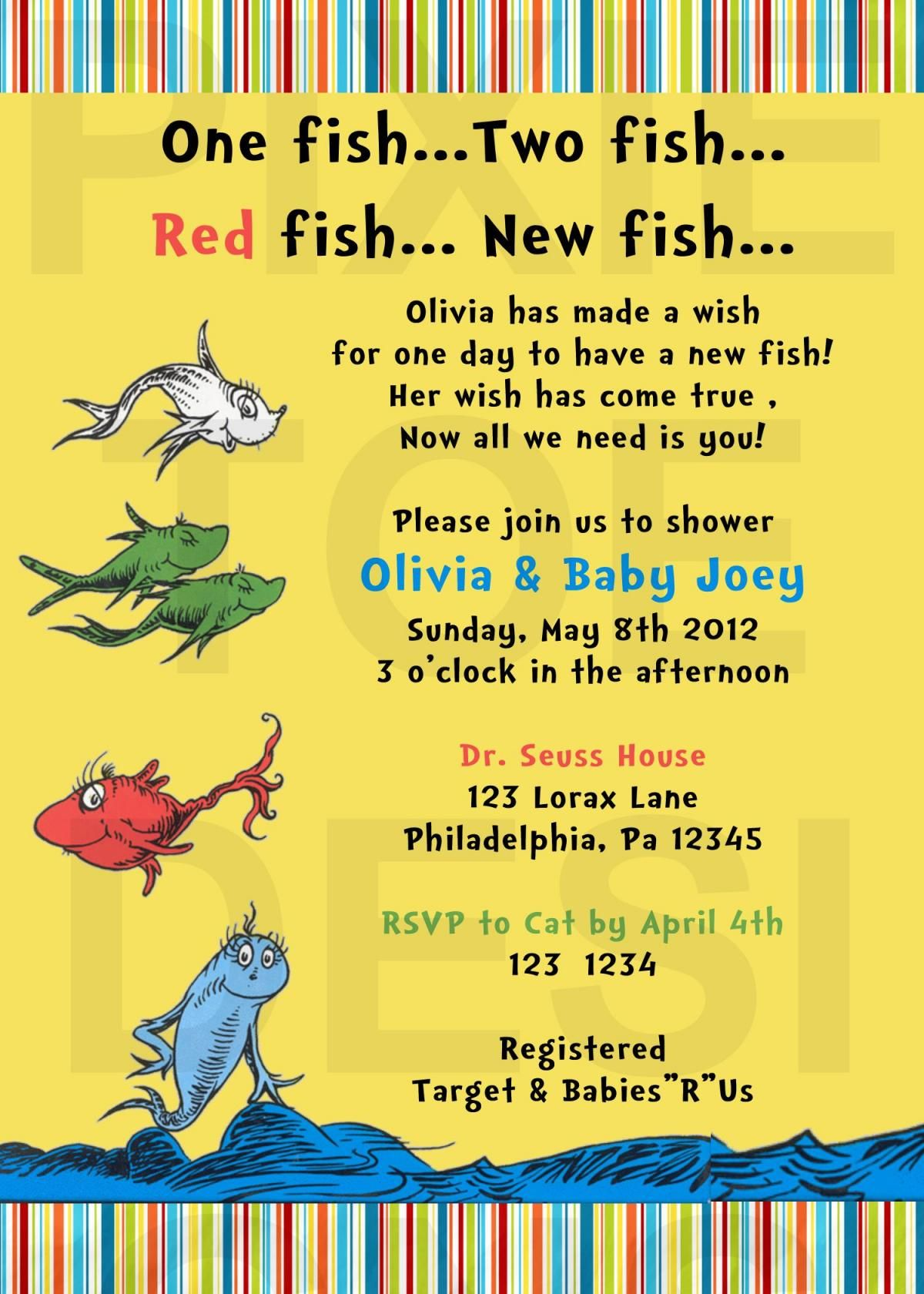 Dr. Seuss New Fish Baby Shower Invitation | Dr Seuss Baby Shower ...