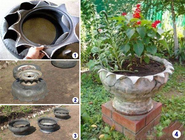 Reciclado creativo de neumaticos jardiner a pinterest for Manualidades de jardineria