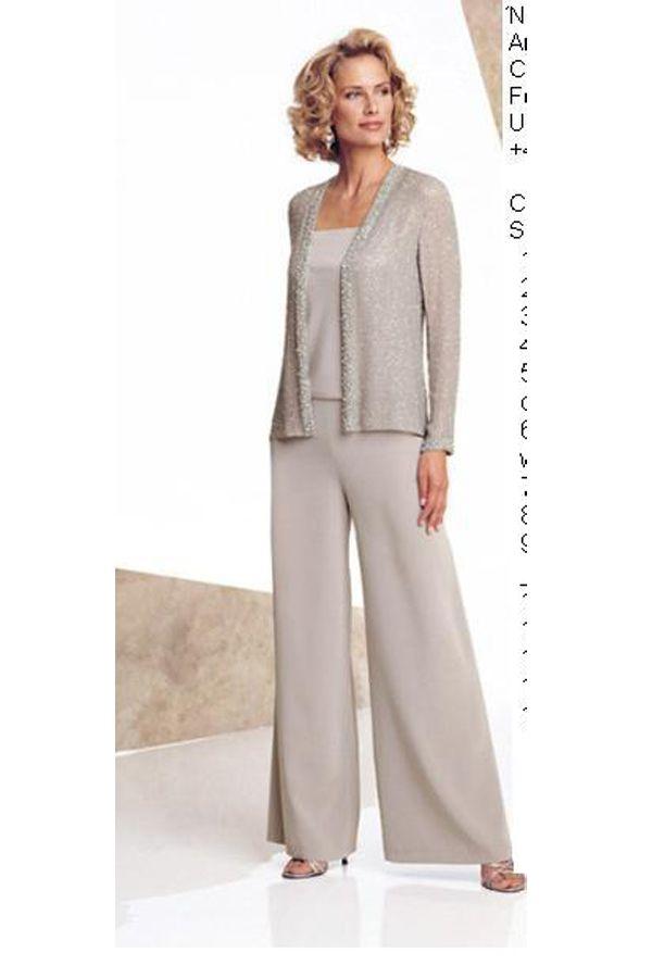 cff942a1a1d70 Informal Elastic pants Dressy Mother Of The Bride Pants Suit nmo-132 ...