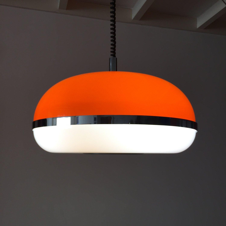 1970's Oranje wit hanglamp dik kunststof tl italy lamp door VanAlphenDesign op Etsy