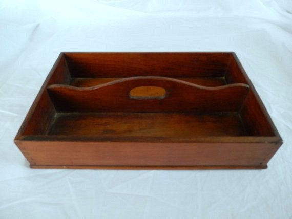 Vintage Wooden Divided Storage Box Tray for Home Office Garden Decoration