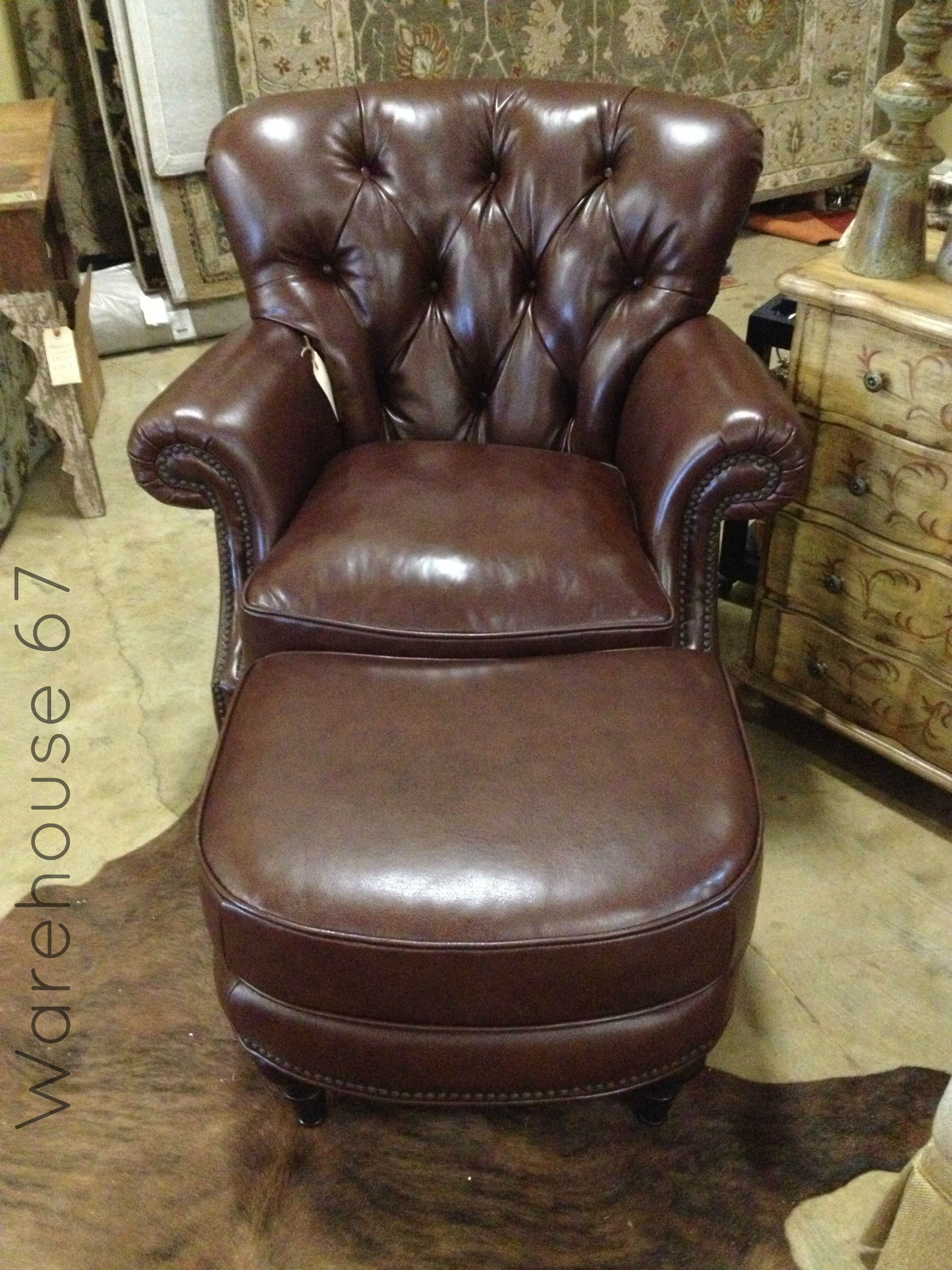 Italian Leather Tufted Chair with Ottoman here at Warehouse 67! Only $1499! www.warehouse67design.com