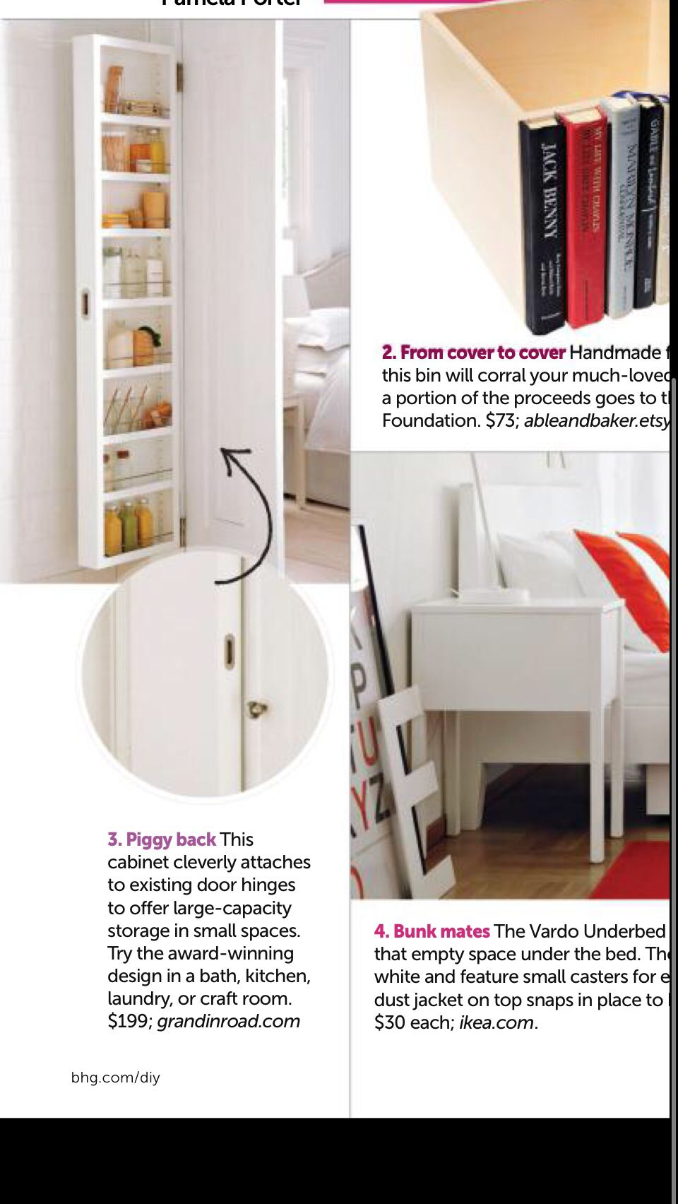 Shelves that attach to door hinges - brilliant.