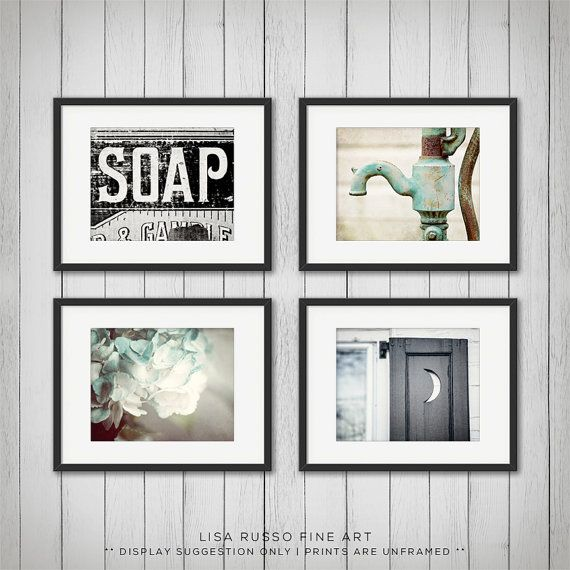 Rustic Bathroom Decor Set Of 4 Prints By Lisarussofineart