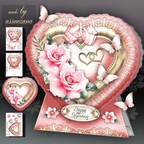 Valentine Heart with Pink Roses Card Kit by Atlic Snezana Valentine Heart with Pink Roses Card Kit 3 sheets for print with decoupage for 3D effect plus few sentiment tags (for your own personal text)