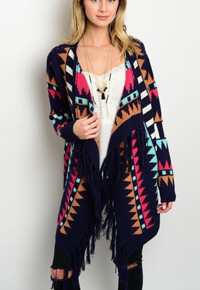 d20aa3530a AZTEC CARDIGAN Fringe Boho Jacket Cowgirl Gypsy Western Southwest Sweater  LARGE  girlnlady  Cardigan