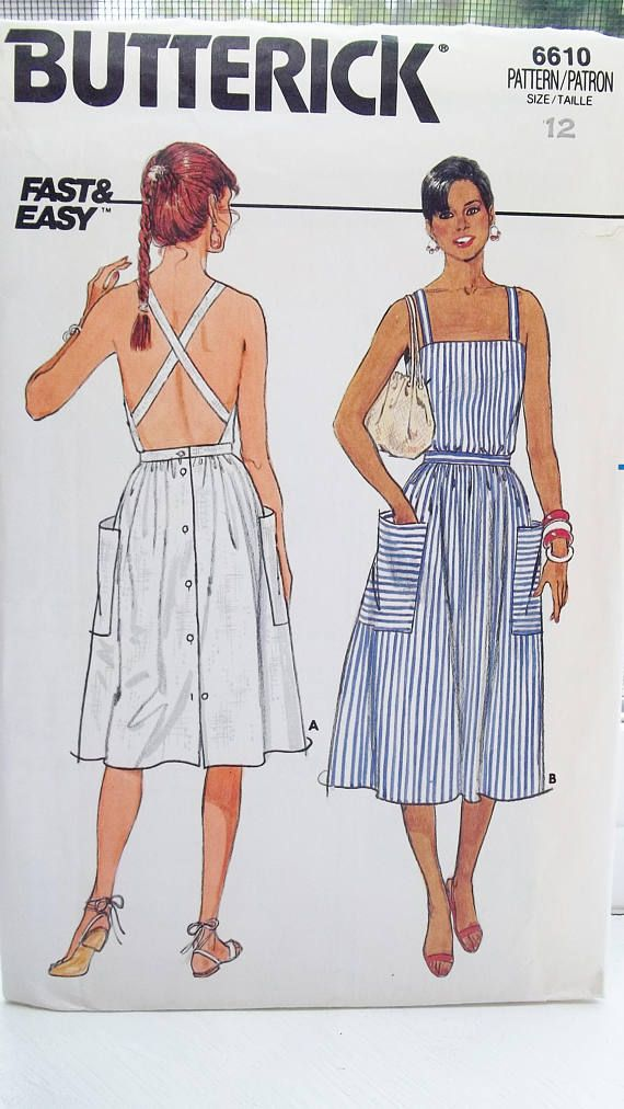 95aeb9229 Vintage Sundress Sewing Pattern Butterick 6610 Fast & Easy Criss Cross Back  Straps Flared Skirt with Button Back Pockets Size 12 UNCUT (1980's) Perfect  for ...