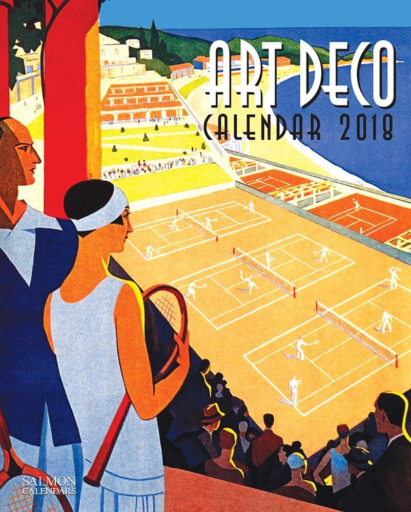 Art Deco 2018 Wall Calendar-Salmon Calendars Year Office Home ...