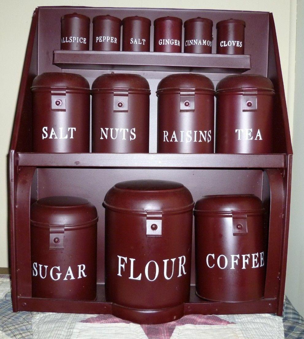 primitive tin canister set burgundy large hanging canister set