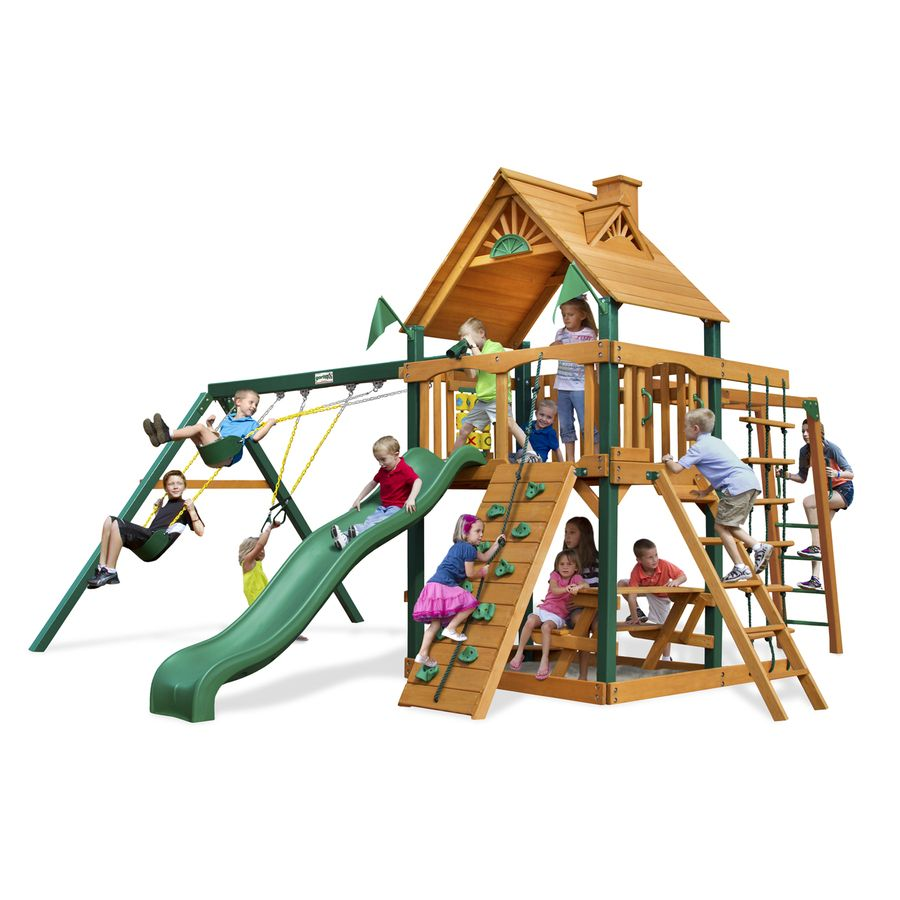 gorilla playsets navigator residential wood playset with swings