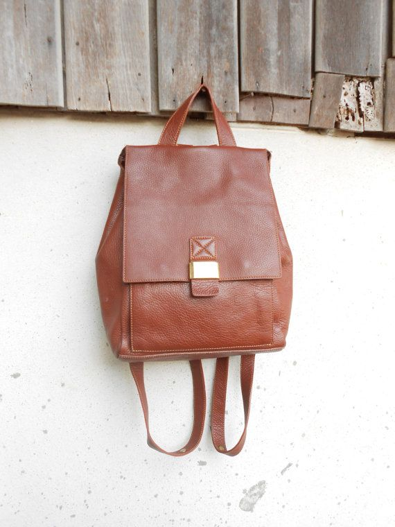 Vintage Leather Bag Brown KAWANO JAPAN Leather Backpack for Women ...