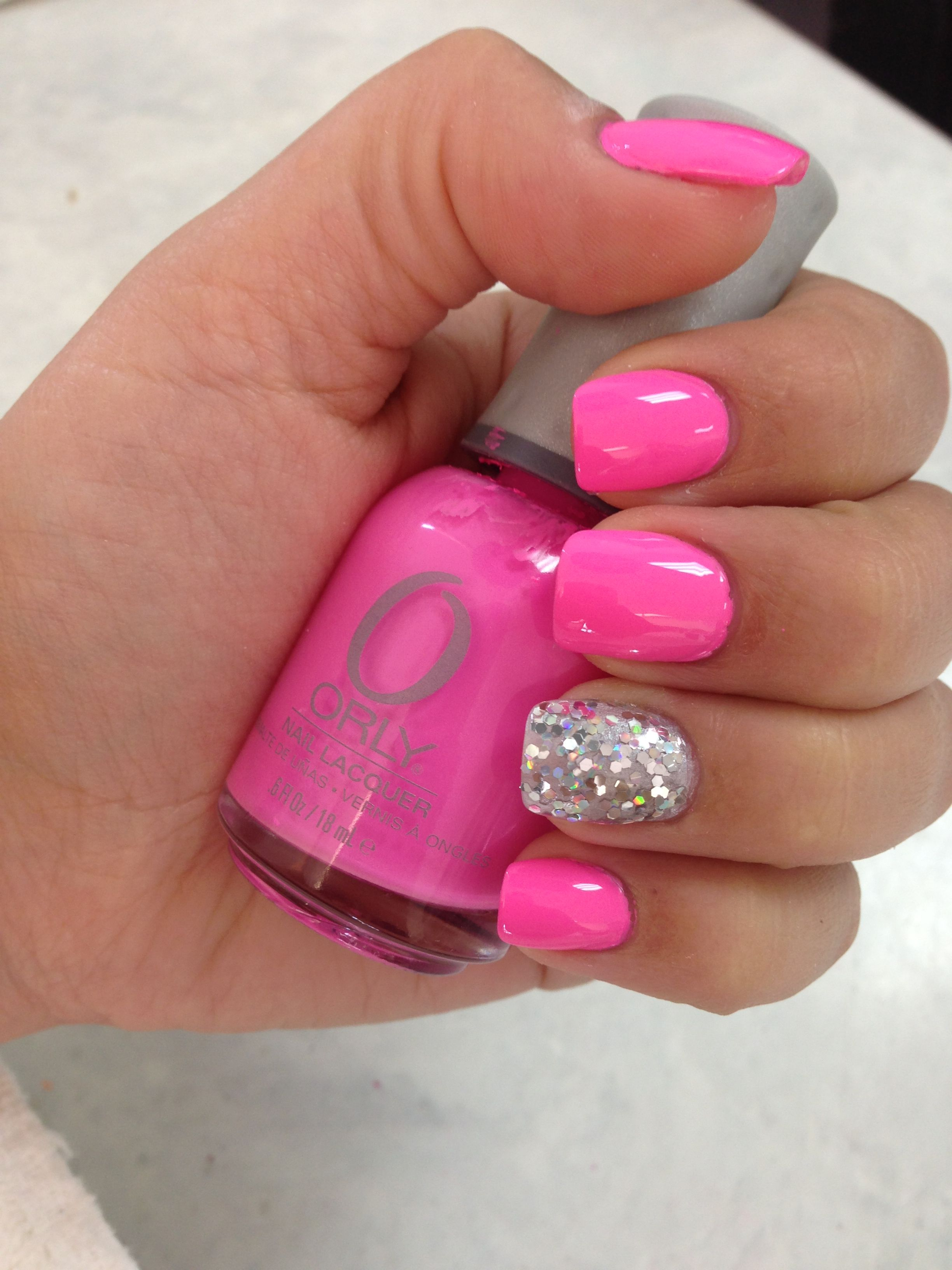 Pink Glitter Summer Nails. Orly Fancy Fuchsia and Orly Holy Holo ...