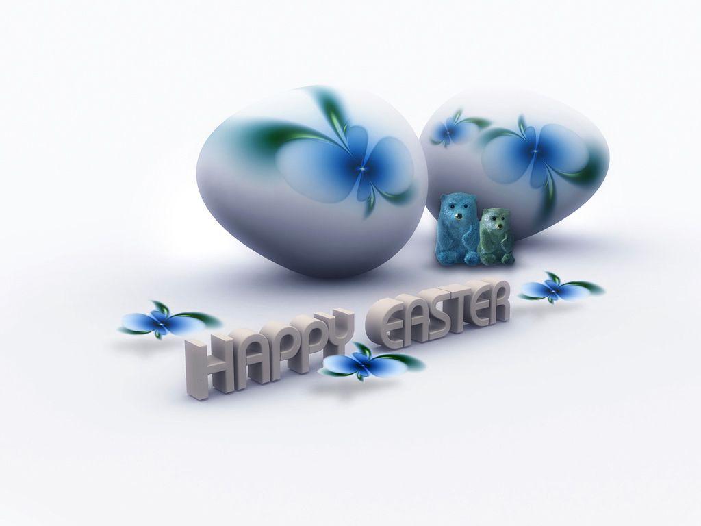 Fond écran Pâques - Bleu et Blanc - Happy Easter