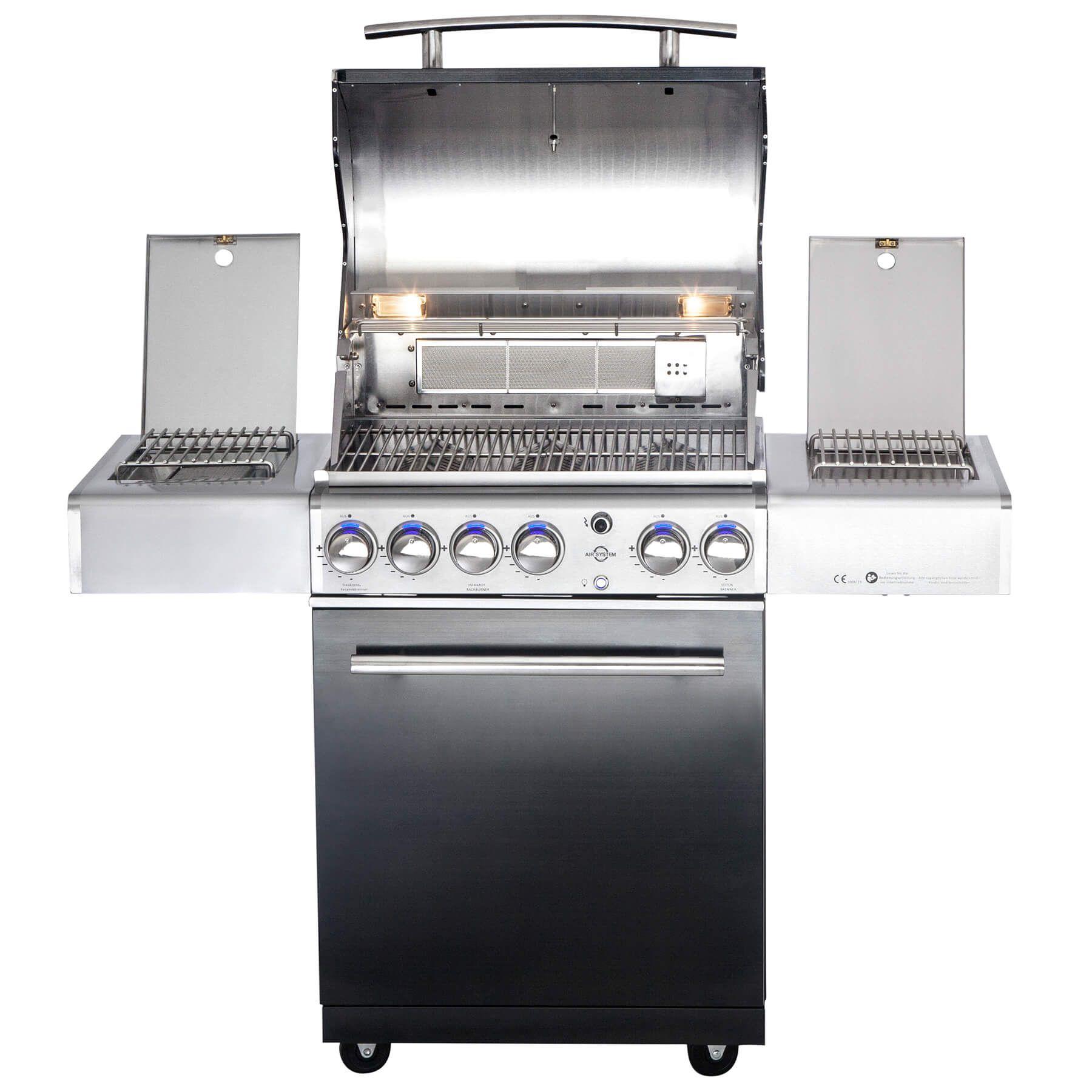 All Grill Chef M Schwarz Brunierter Volledelstahl Gas Grill Mit Air System Gesamtleistung 21 2 Kw 3 Flammig Abmessung A In 2020 Brunieren Gasgrill 11kg Gasflasche