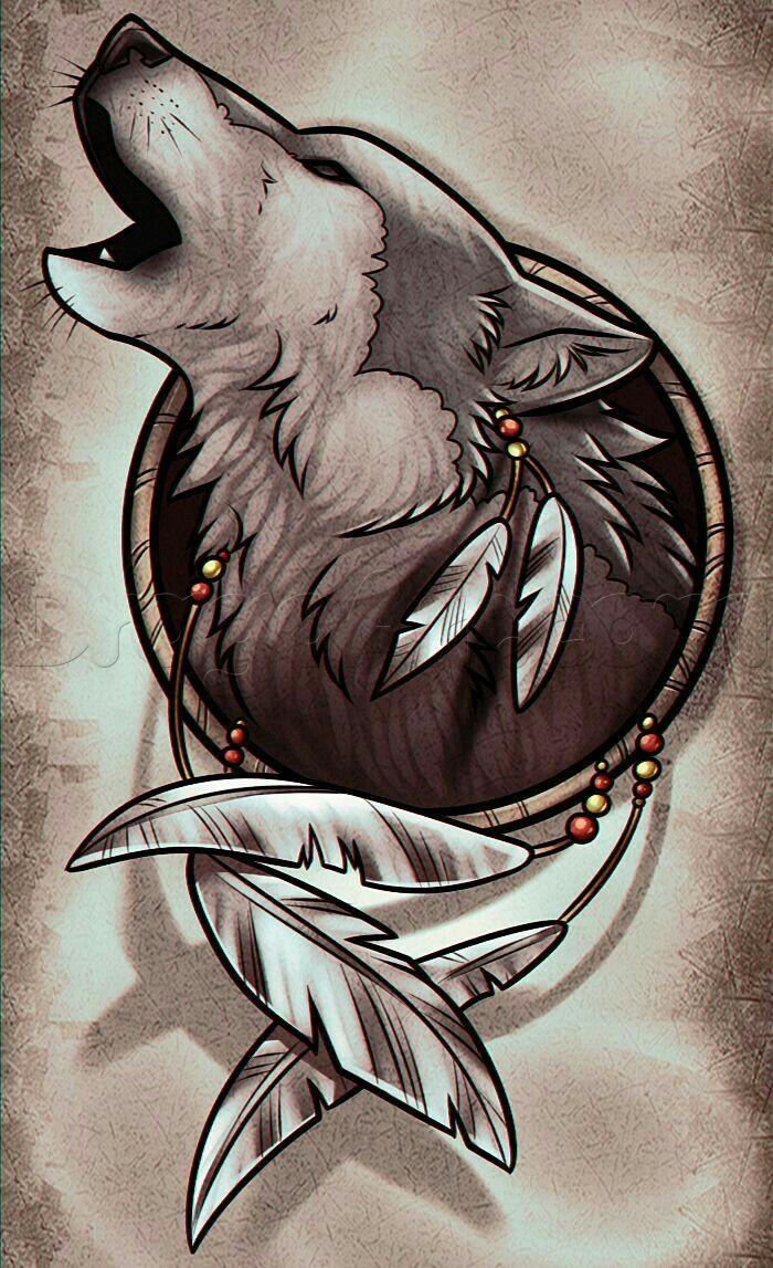 DesertRose,;,wolf,;, | Wolf dreamcatcher, Wolf tattoos ...