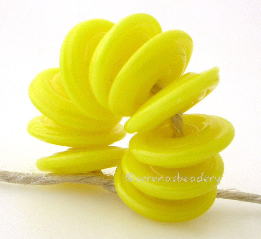 LEMON YELLOW WAVY DISCS * Handmade Lampwork Glass Beads TANERES sra #Lampwork